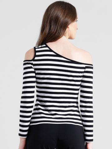 Texco Women Black & white Striped One off shoulder Top