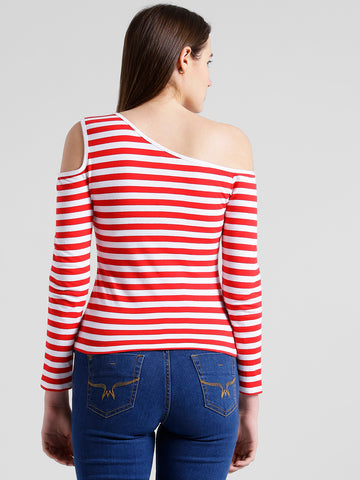 Texco Women Red & white Striped One off shoulder Top