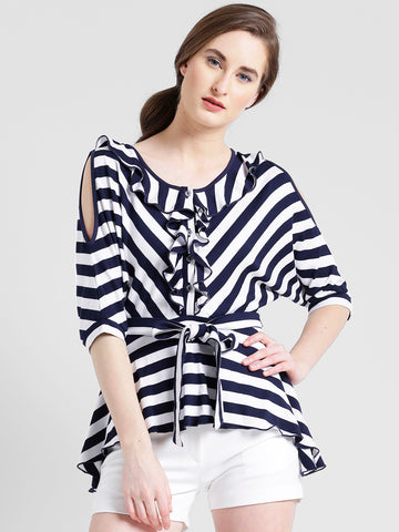 Texco Women Navy & White Cotton jersey Round neck Kimono sleeve Striped Top