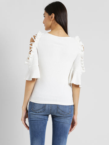 Texco Women Off white Embellished Top