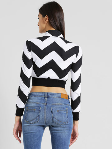 Texco Women Black & white Chevron Crop top Top