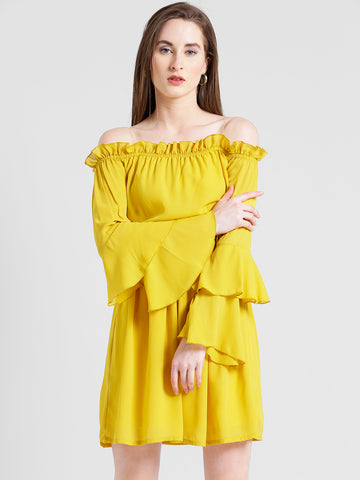 Texco Women Yellow Summer cool Off shoulder Layered Solid Dress