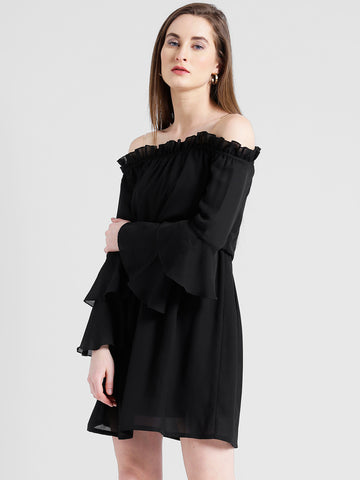 Texco Women Black Summer cool Off shoulder Layered Solid Dress