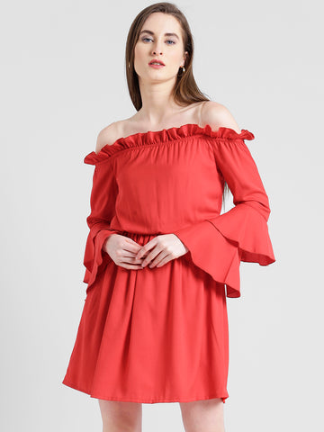 Texco Women Red Summer cool Off shoulder Layered Solid Dress