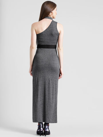 Texco Women Charcoal Grey Cotton jersey One shoulder Sleeve less Solid Dress
