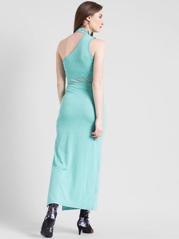Texco Women Mint green Cotton jersey One shoulder Sleeve less Solid Dress