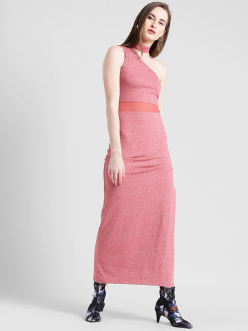 Texco Women Pink Cotton jersey One shoulder Sleeve less Solid Dress