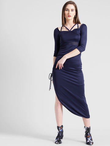 Texco Women Navy Micro polyester Structured neck Straight Solid Dress