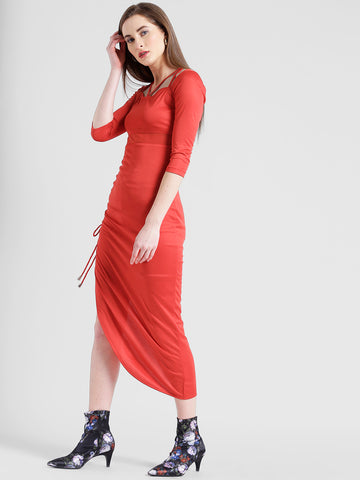 Texco Women Red Micro polyester Structured neck Straight Solid Dress