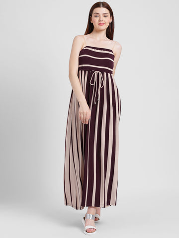 Texco Women Wine And Beige Off Shoulder Stripe Dress