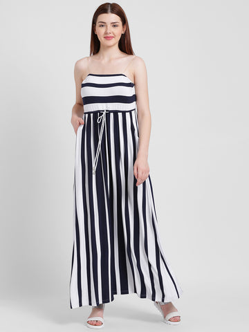 Texco Women Navy And White Off Shoulder Neck Stripe Dress