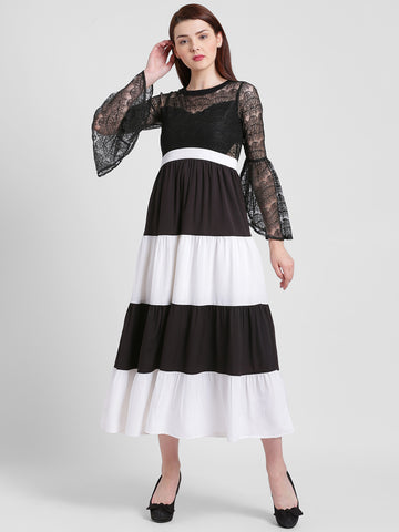 Texco Women Black And White Round Neck Lace Dress