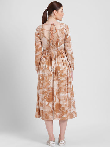 Texco Women Brown And Beige Scoop Neck Printed Dress