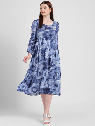 Texco Women Blue And White Scoop Neck Printed Dress