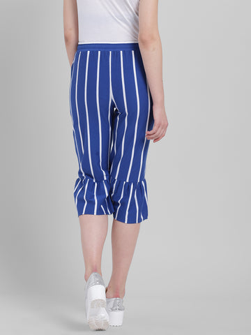 Texco Women Blue and white Cotton jersey Calf Length Culottes