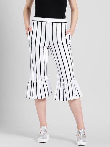Texco Women White and Black Cotton jersey Calf Length Culottes