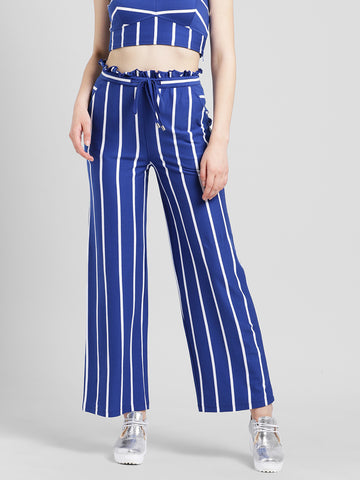 Texco Women Blue and white Cotton jersey Ankle length Trousers