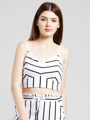 Texco Women White & Black Cotton jersey Crop top