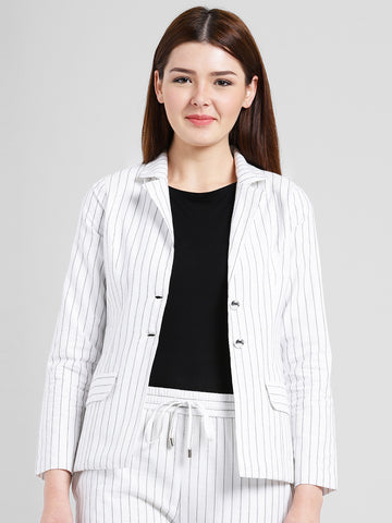 Texco Women Ivory Cotton Regular Blazer Lapel collar