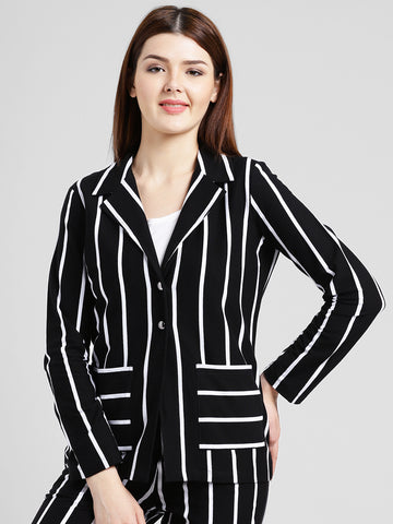Texco Women Black and white Cotton jersey Regular Blazer