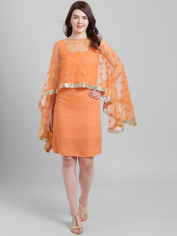 Texco Women Coral orange Polyester Knee length Party Dress