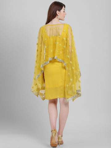 Texco Women Yellow Polyester Knee length Party Dress