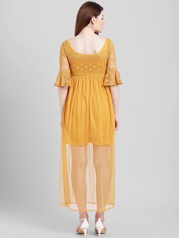 Texco Women Mustard Polyester Ankle length Maxi Dress