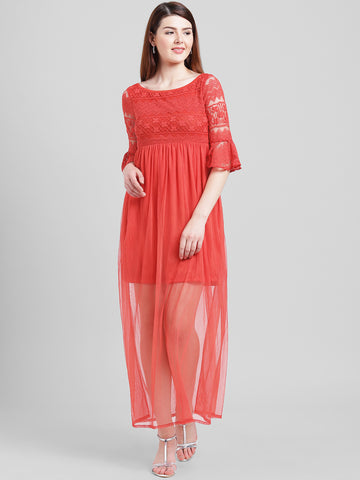 Texco Women Red Polyester Ankle length Maxi Dress
