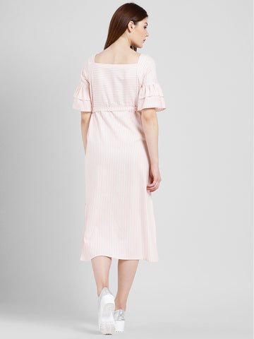 Texco Women Pink and white Cotton Calf Length Shirt dress