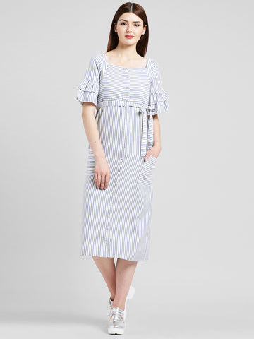 Texco Women Grey and white Cotton Calf Length Shirt dress