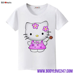 BGtomato lovely Hello Kitty princess t shirt women brand new clothes lovely tshirt cool top tees t-shirt kawaii shirt plus size