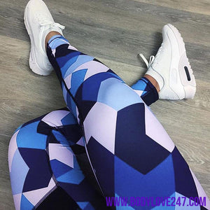 New Arrive Sexy Blue Patchwork Sports Leggings Women Gym Running Yoga Legging Fitness Jogging Trousers Sportswear Yoga Pants