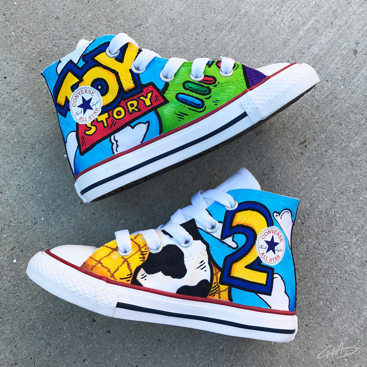 471a9a7e3e91 ... low price custom hand painted toddler toy story converse chucks 29bb3  6fa64