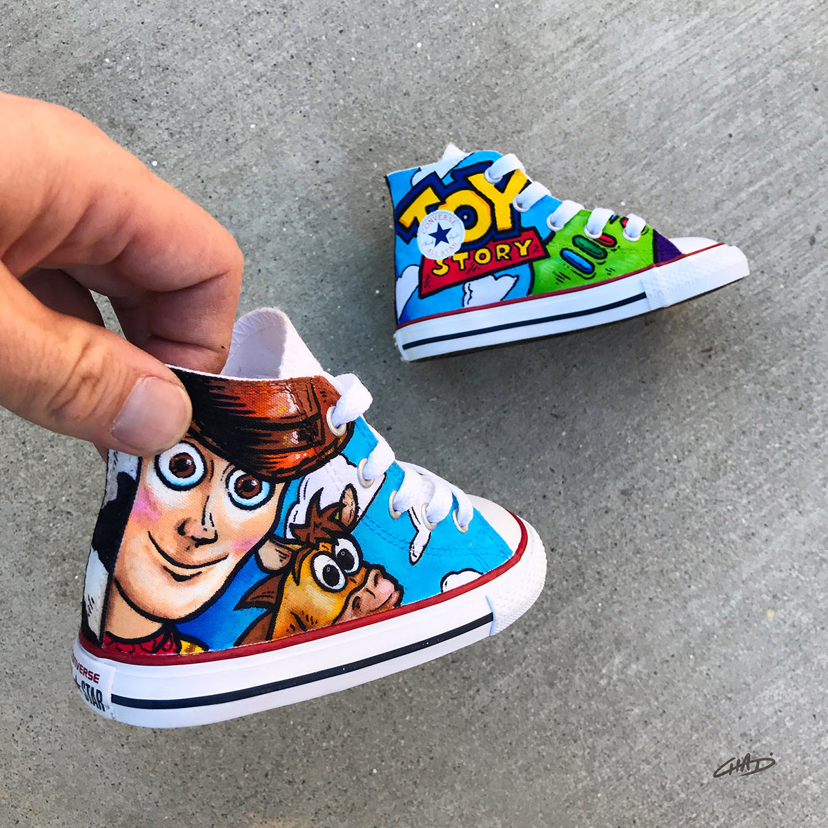 Custom Hand Painted Toddler Toy Story Converse Chucks