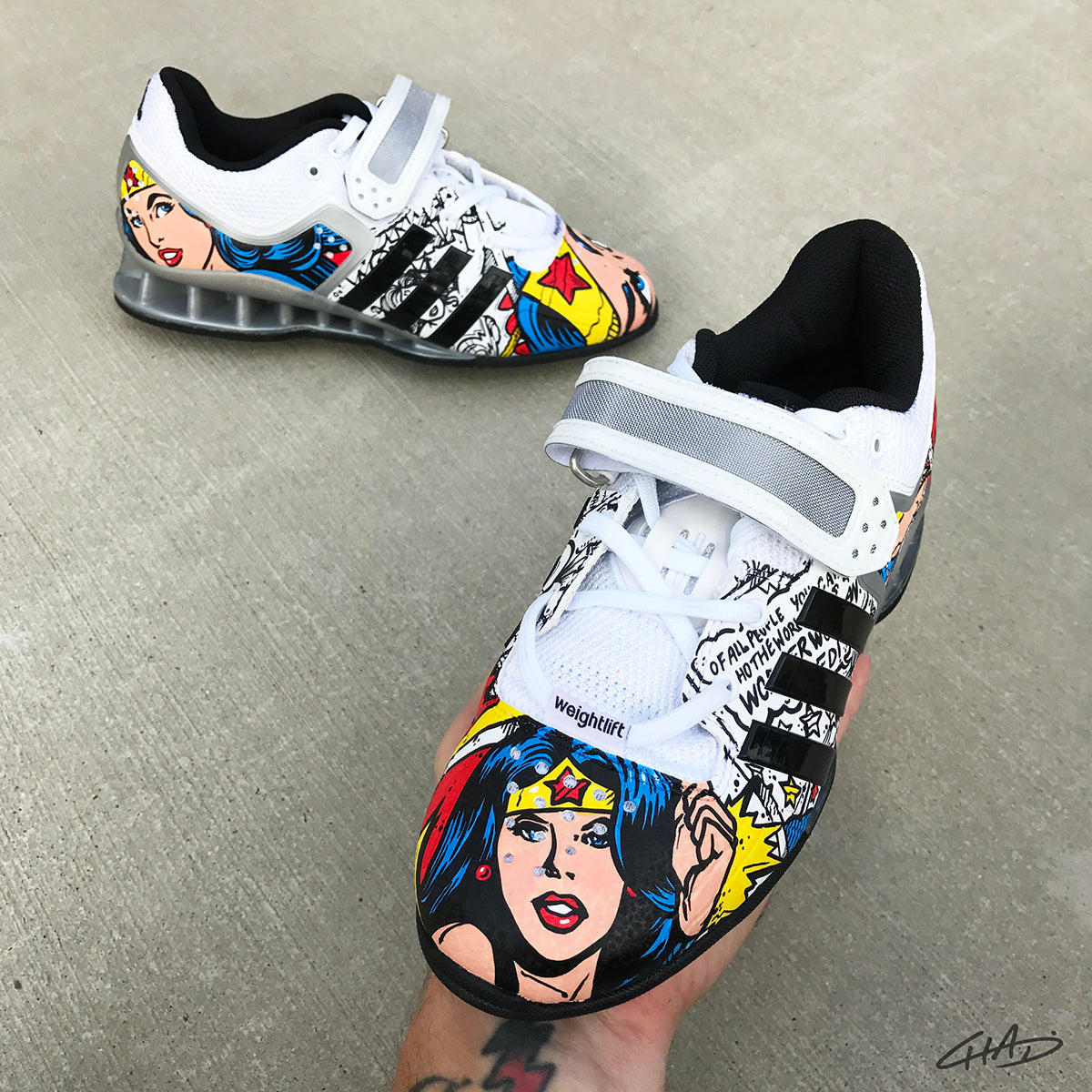 Wonder Woman Custom Hand Painted Adidas Adipower - Olympic Weightlifting Crossfit shoes