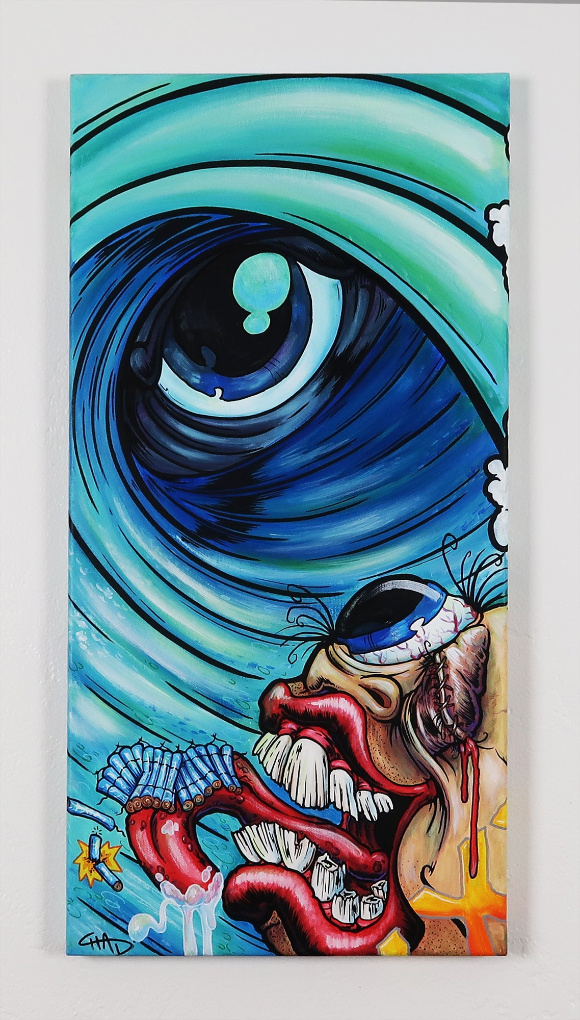 "Eye of the Tube 12""x24"" Canvas Painting"