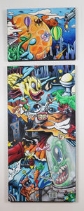 "Zigs Not Rubber Duck - 24""x66"" Two Piece Canvas Painting"