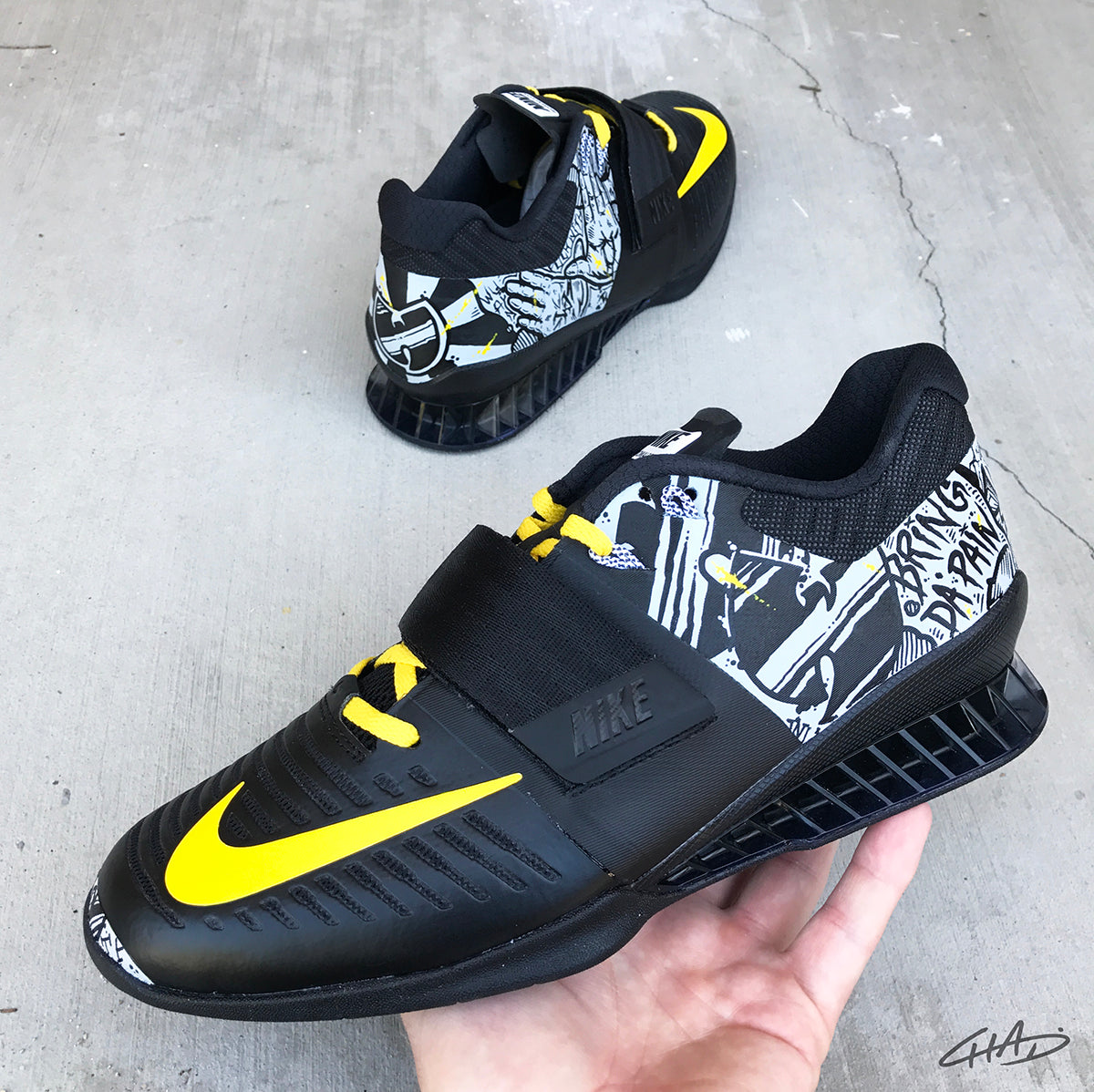 Enter the Wu - Hand painted Nike Romaleos 3 - olympic weightlifting crossfit shoes