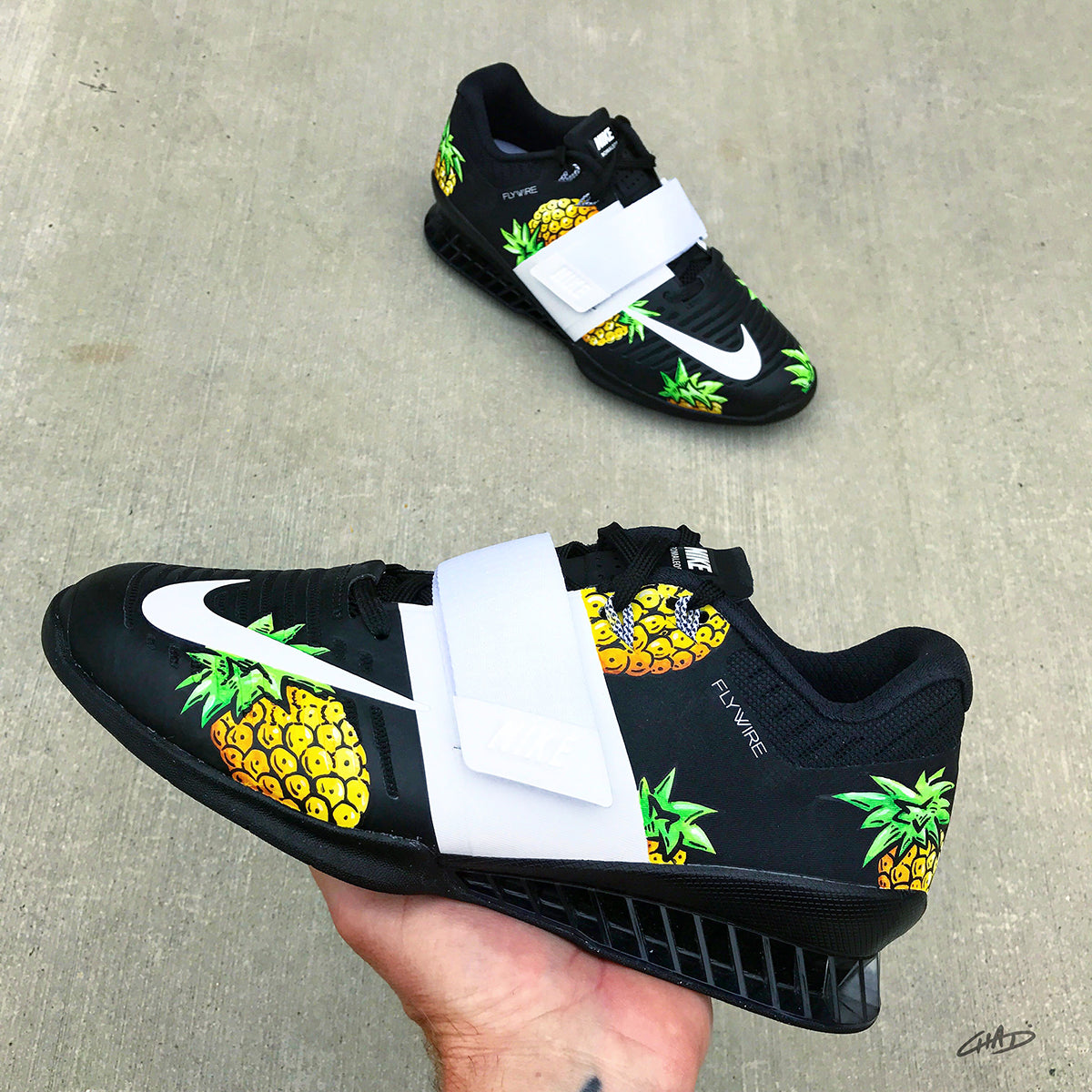 Pineapple Hand painted Nike Romaleos 3 olympic weightlifting crossfit shoes