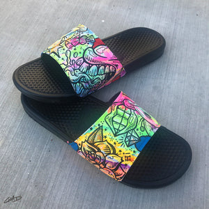Battery Acid - Hand Painted Nike Slides aka Sandals, Flip Flops