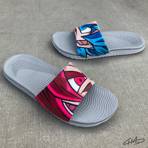 "Custom ""Character Mash Up"" Hand Painted Nike Slides aka Sandals, Flip Flops"