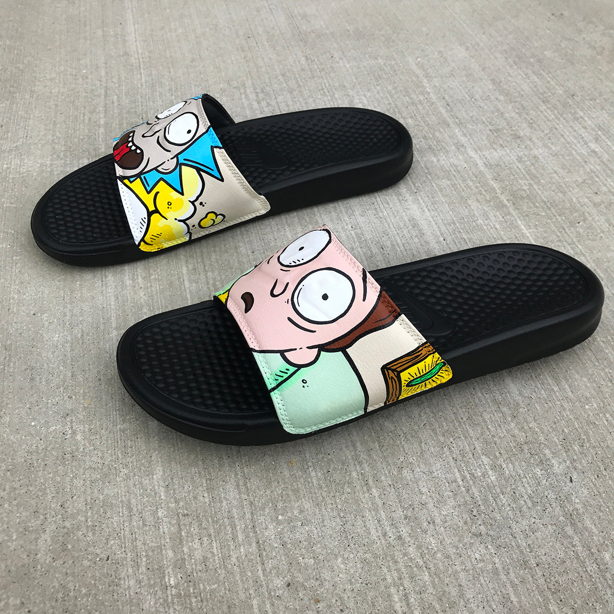 best loved 9efb3 8fa59 ... white cc42d bc936  clearance rick and morty themed hand painted nike  slides aka sandals flip flops 3f843 873b7