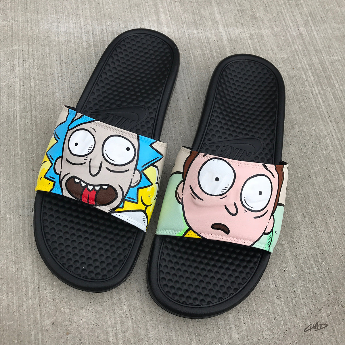 Rick and Morty Themed Hand Painted Nike Slides aka Sandals, Flip Flops