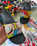 Rugrats Themed Hand Painted Nike Slides aka Sandals, Flip Flops