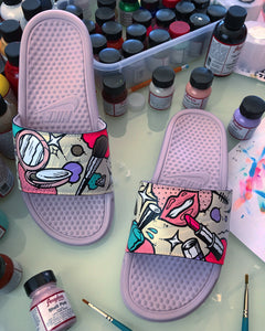 Beauty Queen - Hand Painted Nike Slides aka Sandals, Flip Flops