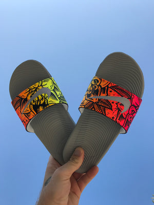 Solar Rose - Hand Painted Nike Slides aka Sandals, Flip Flops