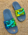 Emerald Rose - Hand Painted Nike Slides aka Sandals, Flip Flops