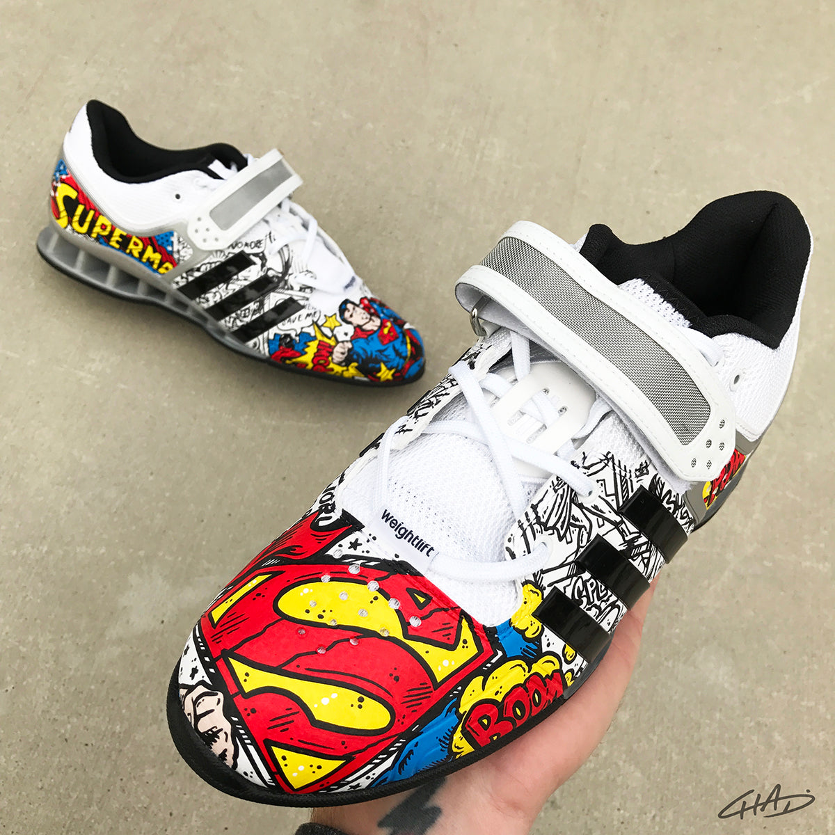 Superman Custom Hand Painted Adidas Adipowers - Olympic Weightlifting Crossfit shoes