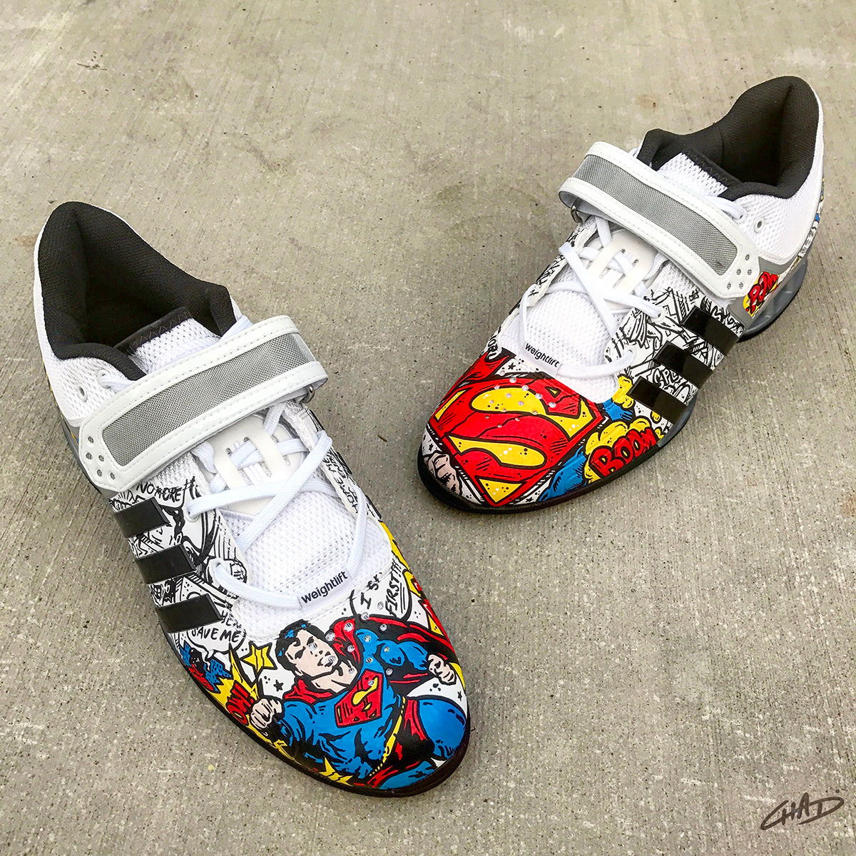 71b2db1ee444 Superman Custom Hand Painted Adidas Adipowers - Olympic Weightlifting  Crossfit shoes