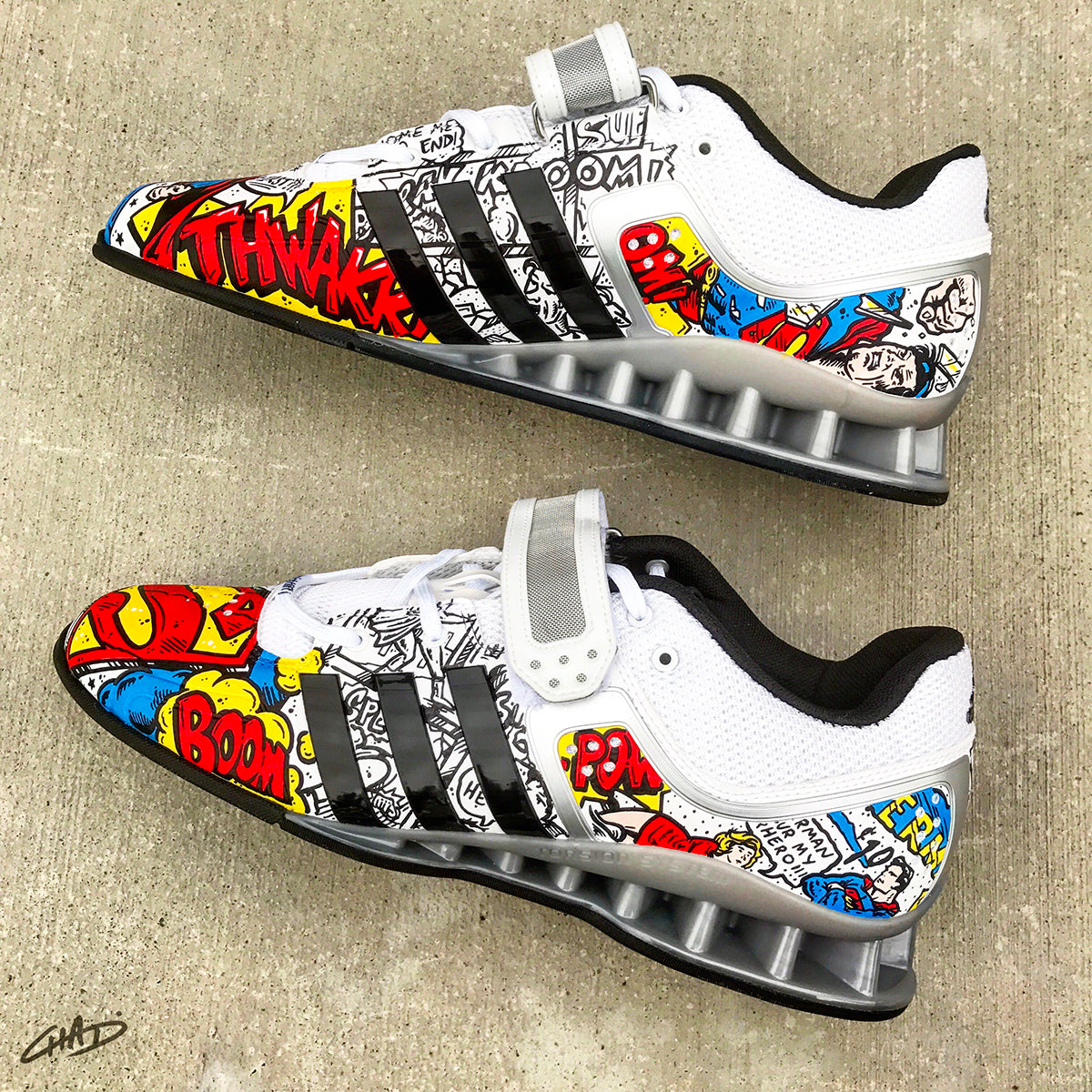 a2cc70f5d042 Superman Custom Hand Painted Adidas Adipowers - Olympic Weightlifting  Crossfit shoes